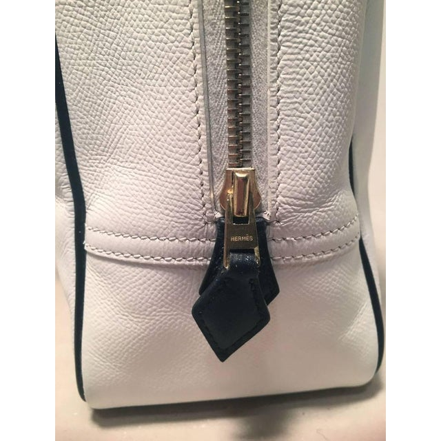 Early 21st Century Hermes Black and White Veau Grain Leather Plume Tote Handbag For Sale - Image 5 of 9