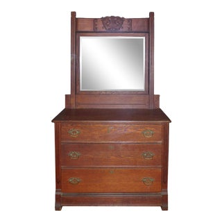 Late 19th Century Oak Bureau With Beveled Glass Mirror For Sale