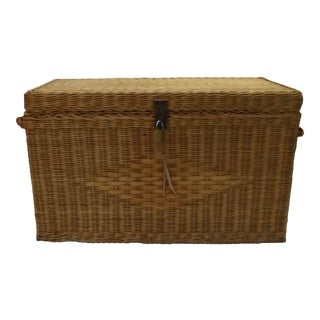 Mid-Century Wicker Trunk For Sale