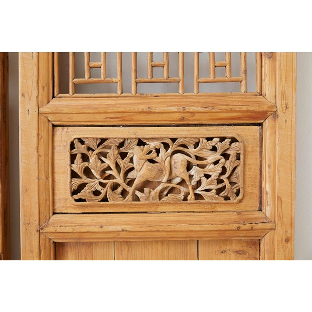 Beige Pair of Chinese Carved Doors With Lattice Windows For Sale - Image 8 of 13