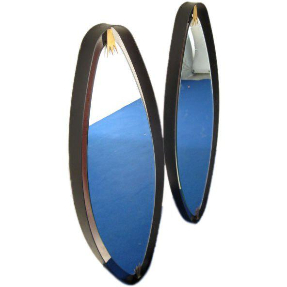 Brass Rare Pair of Italian Oval Mirrors For Sale - Image 7 of 7