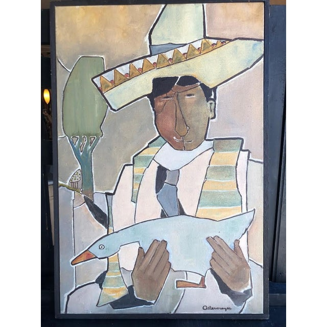 Green Vintage Mid-Century Ostermeyer Portrait Painting For Sale - Image 8 of 8