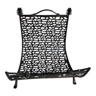 Palecek Faux Bois Iron Log Holder / Magazine Rack For Sale