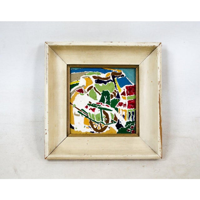 Abstract Colorful Painted Tiles in Frames - a Pair   Chairish