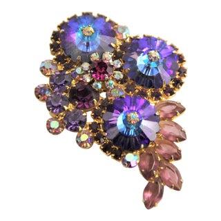 D&e Juliana Delizza Elster Verified Triple Purple Margarita & Rhinestone Brooch For Sale