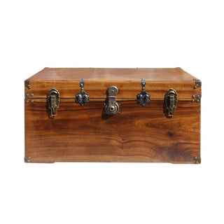 Oriental Chinese Brown Wood Iron Hardware Trunk Table For Sale