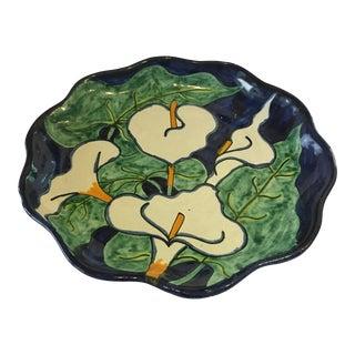 Glazed Ceramic Calla Lily Floral Plate For Sale