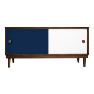 Lukka Modern Kids Credenza Console in Walnut With Deep Blue Finish For Sale