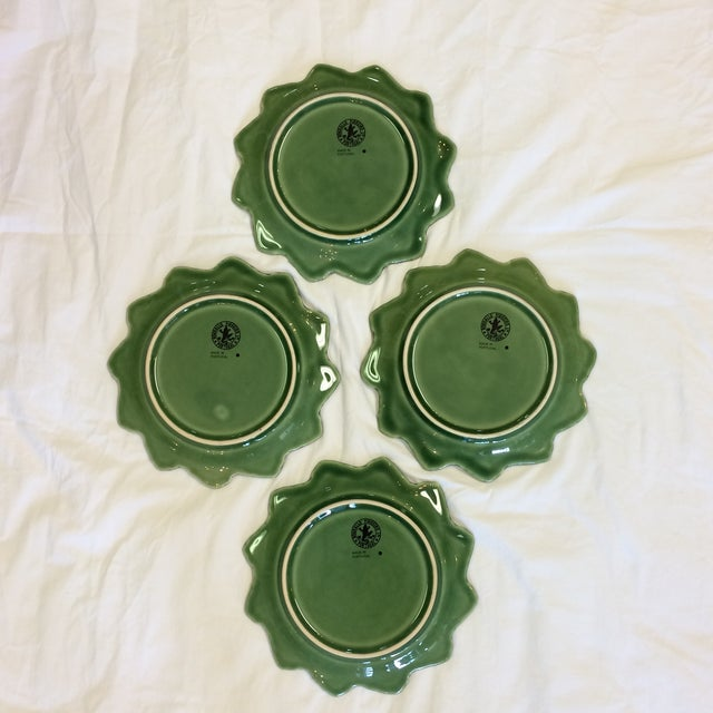 Bordallo Pinheiro Green Majolica Cabbage Leaf With Bunnies Plates - Set of 4 For Sale In Sacramento - Image 6 of 7