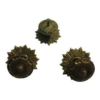 Vintage Regency Brass Hardware Drawer Pulls - Set of 3