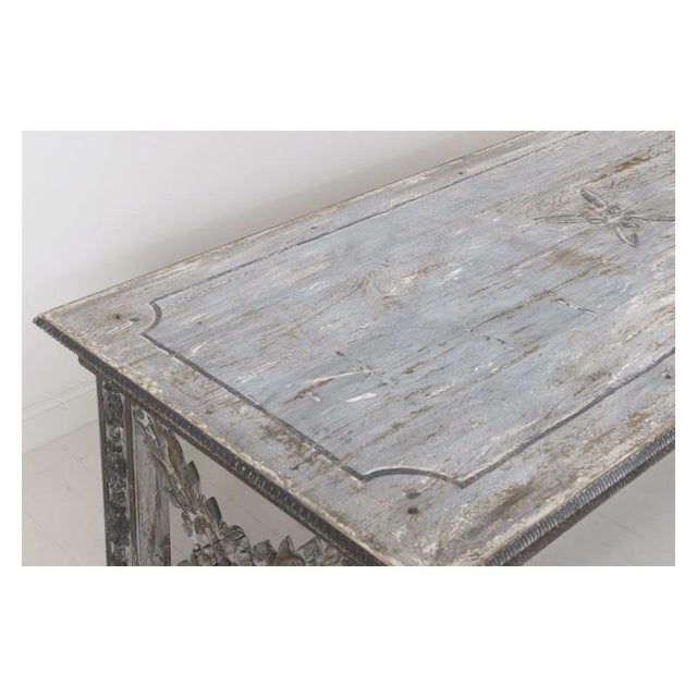 19th Century Large Tuscan Richly Carved Trestle Table For Sale - Image 9 of 11