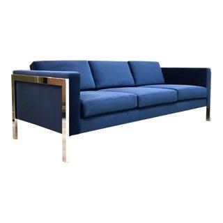 1970s Vintage Milo Baughman Polished Chrome Frame Sofa For Sale