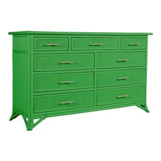 Aruba Nine-Drawer Dresser - Bright Green For Sale