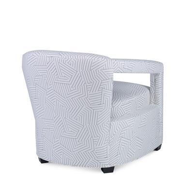 The Calla Chair is a first quality market sample that features a black-and-white fabric with a Springdown Medium Cushion....