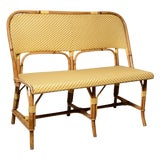 Image of 1970s Vintage French Maison Gatti Rattan and Bamboo Banquette Settee For Sale