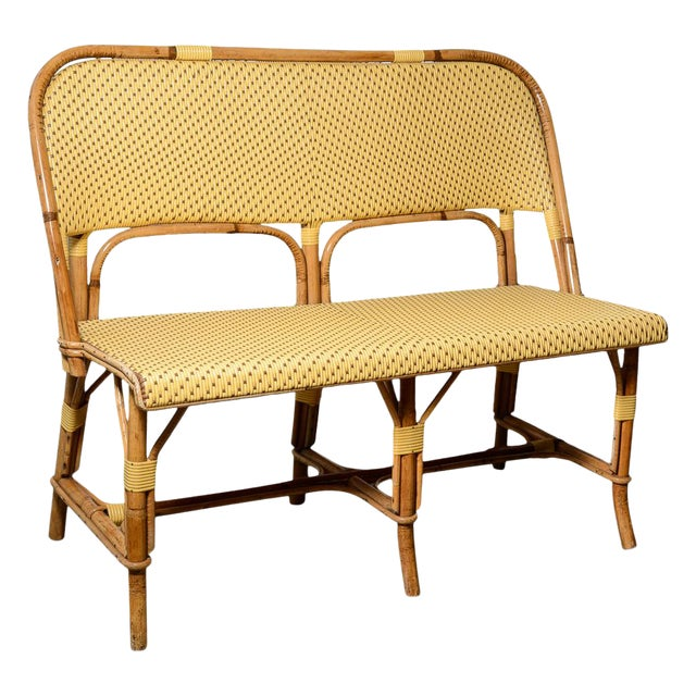 1970s Vintage French Maison Gatti Rattan and Bamboo Banquette Settee For Sale