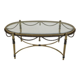Neoclassical Oval Brass Coffee Cocktail Table W. Beveled Glass Top For Sale