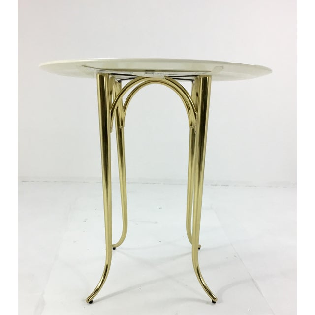 Stylish modern, contemporary Jeffery Bilhuber for Henredon Large Chelsea Road side table, brass base with in ivory wood...