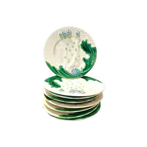 Antique Majolica Asparagus Plates, S/8 - Image 6 of 6