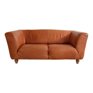 Roche Bobois Orange Leather Loveseat For Sale