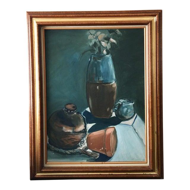 Vintage Dark Blue Still Life Framed Painting For Sale