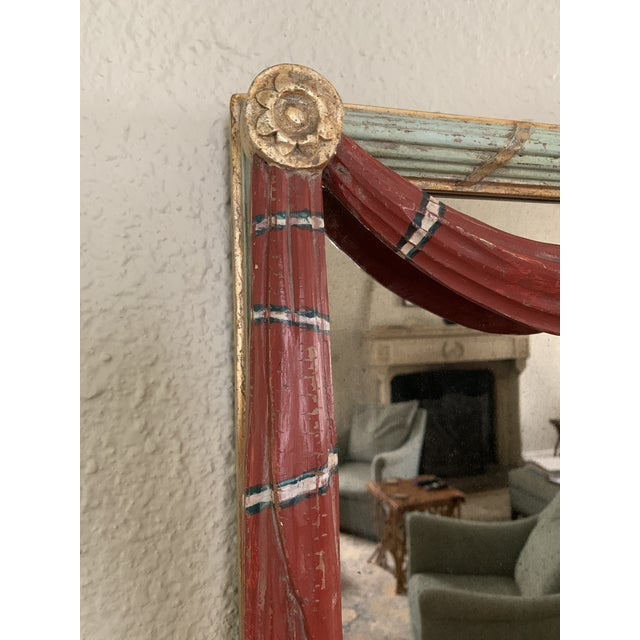 Early 20th Century Red Painted Drapery Swag Mirror For Sale - Image 4 of 13