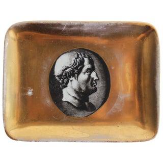 "Gilt Porcelain ""Profili Romani"" Dish by Piero Fornasetti For Sale"