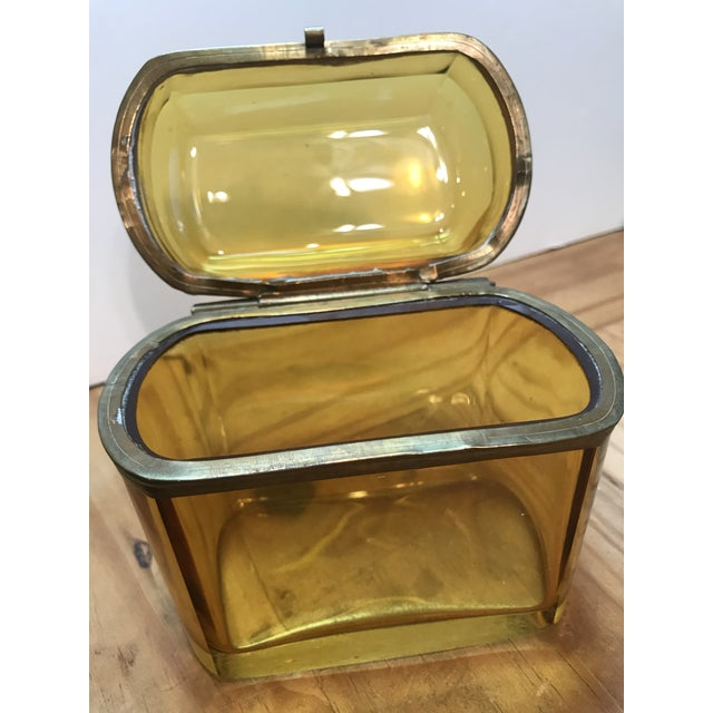 19th Century French Amber Glass Hinged Box For Sale - Image 4 of 7