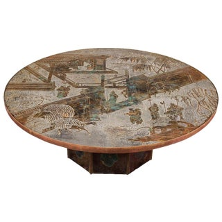 Signed Philip and Kelvin LaVerne Round Bronze Table For Sale