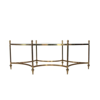 Oval Brass and Glass Cocktail Table For Sale
