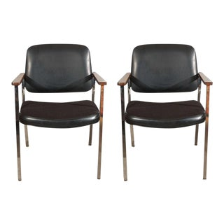 1950s Vintage Bauhaus Chrome and Wood Black Armchairs- a Pair For Sale