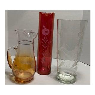 Vintage Blendo Orange & Red Vase Pitcher - Set of 3 For Sale
