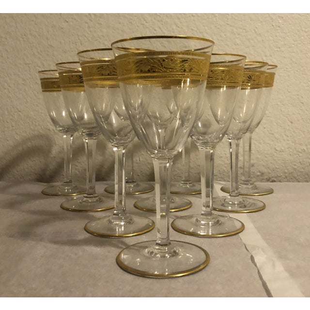 French Mid 20th Century Baccarat French Gilt Crystal Directoire Style Glassware - Set of 40 For Sale - Image 3 of 13
