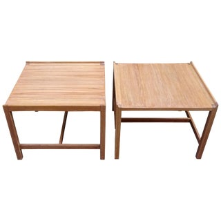 1950s Danish Modern Bleached Teak Cocktail Tables - a Pair For Sale