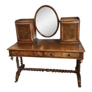 1900s Antique English Burled Walnut Dressing Table With Oval Mirror For Sale