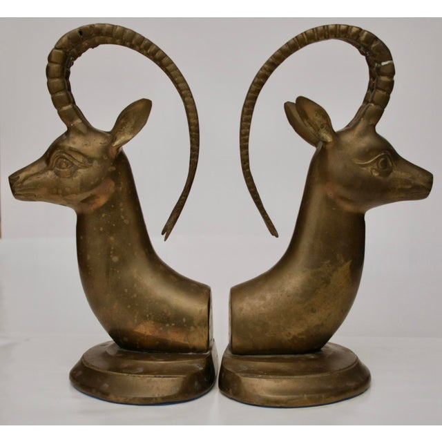 Large Brass Gazelle Sculptural Bookends - Image 8 of 8