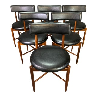 Vintage British Mid Century Modern Teak Dining Chairs by Victor Wilkins for G Plan - Set of 6 For Sale