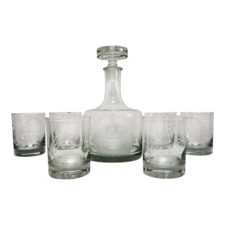 1970s Etched Crystal Sailing Ship Decanter & Glasses - Set of 7 For Sale