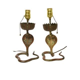 Brass Enameled Cobra Lamps, Pair