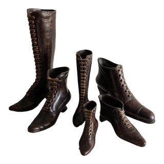 Theodore Alexander Bronze Victorian Granny Boot Collection - Set of 6 For Sale