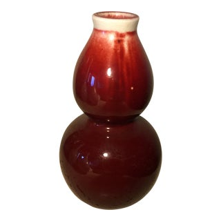 Red Chinese Small Ceramic Double Gourds Vessel For Sale