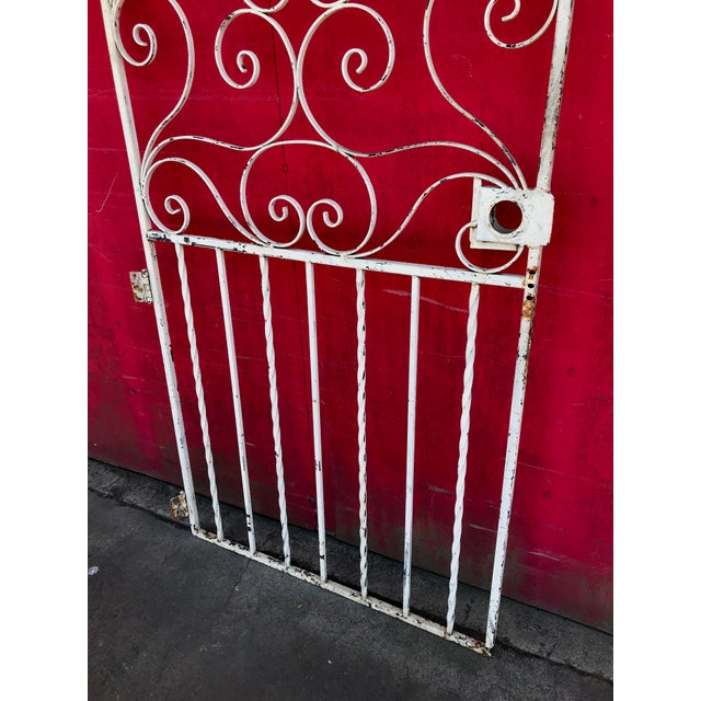 1940s Shabby Chic Rusty White Arched Wrought Iron Garden Fence For Sale - Image 9 of 11