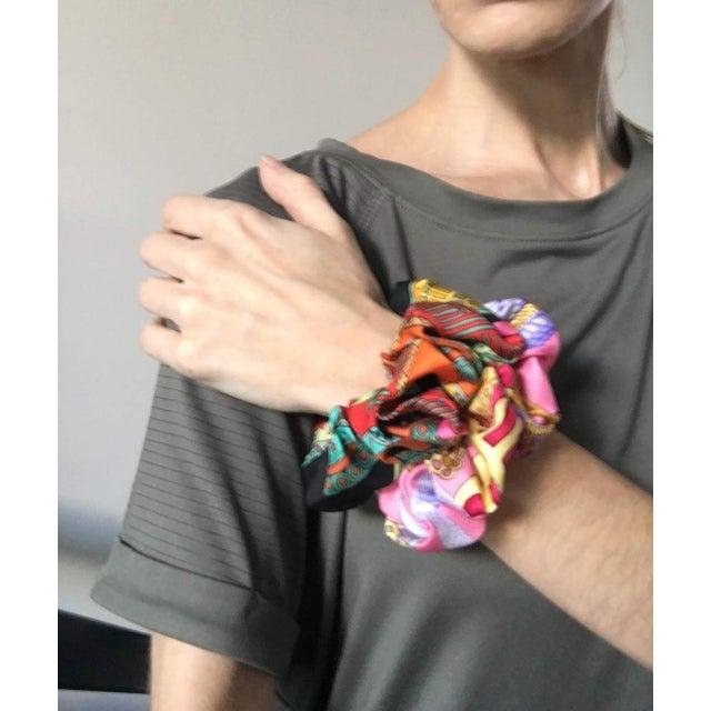 Hermes Handmade Vintage Silk Scarf Scrunchie in Orange and Navy Tropical Print For Sale - Image 11 of 13