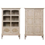 Image of Single Two-Sided Early 20th Century British Colonial Two-Door Painted Cabinet For Sale