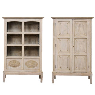 Single Two-Sided Early 20th Century British Colonial Two-Door Painted Cabinet For Sale