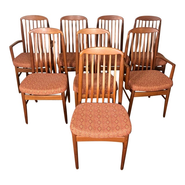 Set of 8 Mid Century Modern Danish Teak Dining Chairs by Benny Linden Slat Back For Sale
