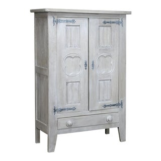 Antique French Country Painted Armoire For Sale