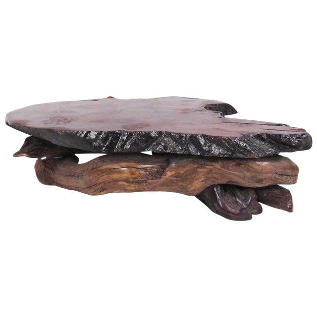 Stunning Mid-Century Tree Slab Coffee Table For Sale