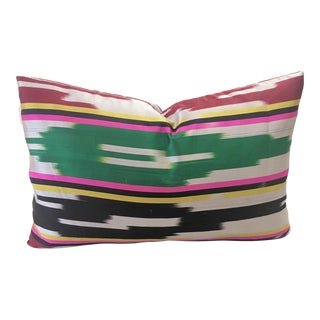 Uzbek Ikat Silk Lumbar Pillow For Sale