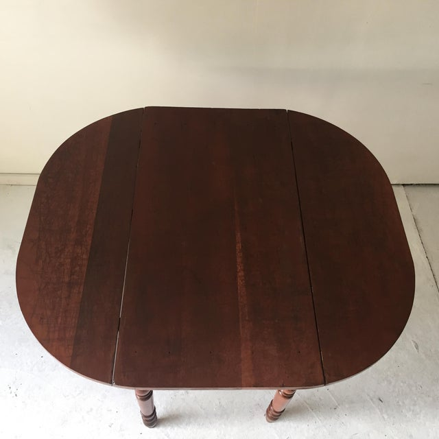 Antique Bench-made in USA hardwood (maple) country table refinished but with all age-imperfections retained, table top...